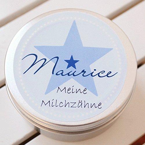 Zahndose mit Namen personalisiert für Jungen/Baby - Geschenk zur Geburt Taufe Einschulung (Zahndose Maurice)