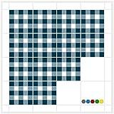 FoLIESEN Fliesenaufkleber für Bad und Küche | 15x15 cm | Fliesenbild Mosaik Crossline Petrol | 16 Fliesensticker für Wandfliesen