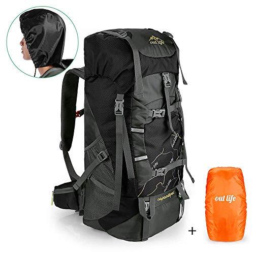 outlife Wanderrucksack 60L Trekkingrucksack Extra Large Leichter Trekking Camping Reiserucksack, reiß- und Wasserabweisender Rucksack mit Belüftungssystem (Schwarz-NEU)