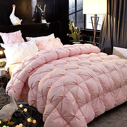 LSQ 95% Weiße Gänsedaunen-Daunendecke Stereoblume Warme Winterdecke Einzel Doppelt,Pink,150 * 200CM - Daunendecke Queen-size-weiße