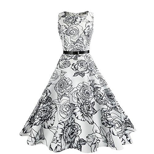 Lovelybride 1950er Vintage Retro Rockabilly Kleid Cocktailkleider Gedruckt Faltenrock (77) - Formale Frauen Kleider Für Billig