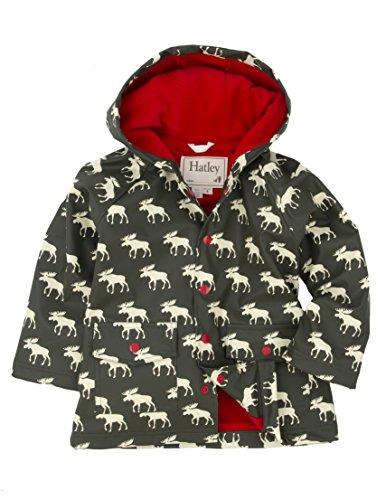 Hatley Boys Rain Coat - Moose - Abrigo para niños, color marrón, talla 4 años