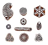 #5: Hashcart (Set of 10) Mughal Design Wooden Printing Stamp Block Hand-Carved for Saree Border Making Pottery Crafts Textile Printing