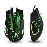 Apedra, mouse ottico di gioco cablato, Ghost Knight X9, retroilluminazione a LED, 4 mouse regolabili DPI 6 pulsanti programmabili Mouse da gioco per Windows XP/Vista/7/8/10/MAC OS X