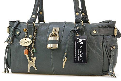 Borsa in pelle a spalla con lucchetto di Catwalk Collection