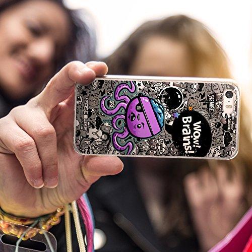 CASEiLIKE Comic Beschriftung Rosa 2912 Ultra Slim Back Hart Plastik Stoßstange Hülle Cover for Apple iPhone SE +Folie Displayschutzfolie +Eingabestift Touchstift (Zufällige Farbe) 2707
