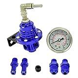 Benzindruckregler Universal Blau 4-8 Bar einstellbar mit Manometer AN6 & 8mm