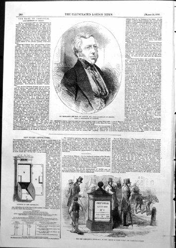 Copie antique St 1855 de Farrington de flotte de boîte de lettre de bureau de poste de Carlisle de comte de nouveau par original old antique victorian print