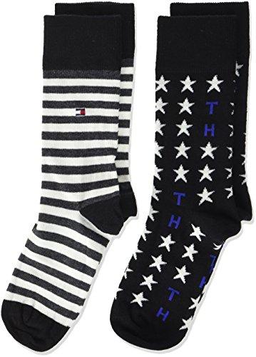 Tommy Hilfiger Jungen TH Unisex Stars and Stripes Sock 2P, 2er Pack, Schwarz (Black 200), 27-30 (Tommy Neugeborene Baby Jungen Hilfiger)