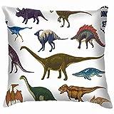 Dinosaurs Cartoon Collection Colorful Set Fantasy Animals Wildlife Dinosaur Soft Cotton Linen Cushion Cover Pillowcases Throw Pillow Decor Pillow Case Home Decor 18X18 inch