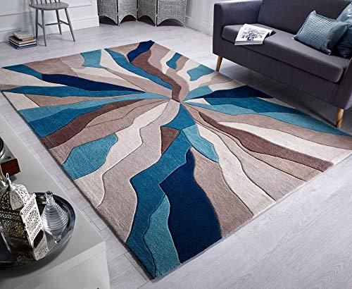 Flair rugs tappeto infinite con fasce verde petrolio chiaro, di buona qualità in 3 misure - verde petrolio chiaro, 120 x 170 cm