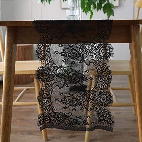 Weanorey Hochzeit tischläufer schwarz und weiß Spitze tischläufer floral tischdecke Hochzeit tischdekoration heimtextilien großhandel 3 STÜCKE 35 * 300 cm