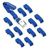 Befestigungsriemen für Fahrradträger blau 12er Set 40 cm Metallschnallen