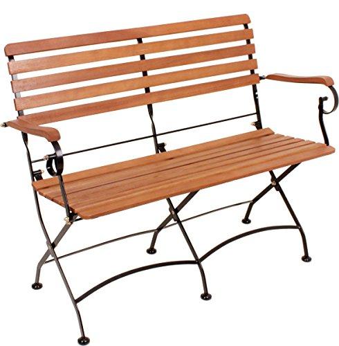 VARILANDO Gartenbank 'William' aus geöltem Eukalyptus und Stahl Klappbank Sitzbank 2-Sitzer