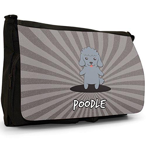Tedesco Cartoon cani grande borsa a tracolla Messenger Tela Nera, scuola/Borsa Per Laptop Poodle, Caniche, Barbone