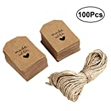 ULTNICE 100pcs Made with Love Sign Paper Tag Gift Label with Twine for Wedding Party