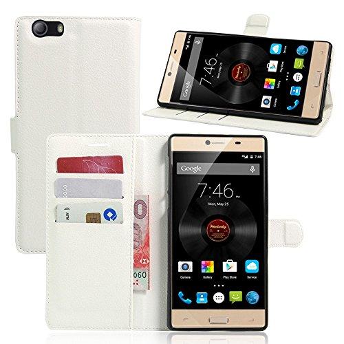 Tasche für Elephone M2 Hülle, Ycloud PU Ledertasche Flip Cover Wallet Case Handyhülle mit Stand Function Credit Card Slots Bookstyle Purse Design weiß