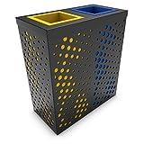 poubelledirect Mülleimer Mülltrennung 2Fächer, Multi Volumes–Anthrazit Blau Weiß–2x 90/100L–Andromeda
