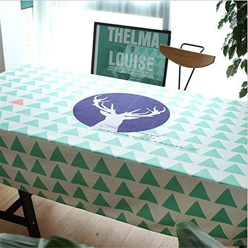 hhlwl Rechteckige Tischdecke Aus Baumwolle Und Leinen Einfache Elch-Drucktischdecke Couchtisch TV-Arbeitstuch, 152 X 259 cm