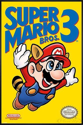 Super Mario Bros. 3 Poster (93x62 cm) gerahmt in: Rahmen schwarz (Bild-frame-ecken)