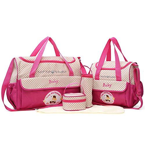 Preisvergleich Produktbild Satz von 2 Baby Wickeltaschen + Baby Bottle Bag + Lunch Kit + Wasserdichte Matte zum Austausch der kompakten Schichten ideal für Reisen (pink)