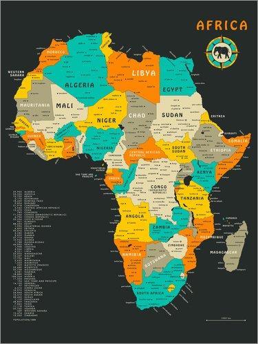 Póster 50 x 70 cm: Africa Map Jazzberry Blue - impresión