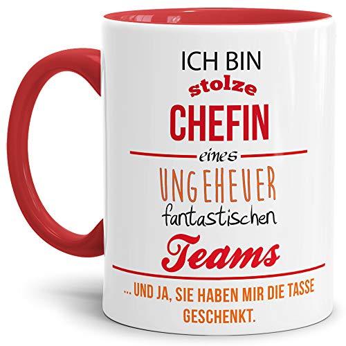 Tasse mit Spruch Chefin Innen und Henkel Rot - Kaffeetasse/Mug/Cup - Qualität Made in Germany