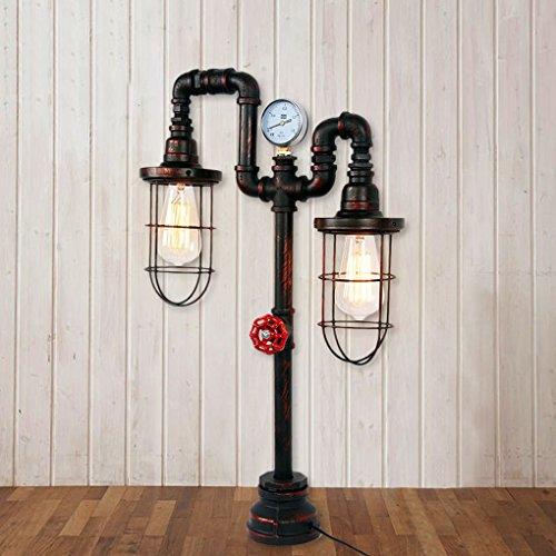 Stehlampe W Leselicht (Tischlampe Retro Industrie Wind Wasser Rohr Tischlampe Europäischen Wohnzimmer Studie Kreative Stehlampe Doppelkopf Leselicht A+)