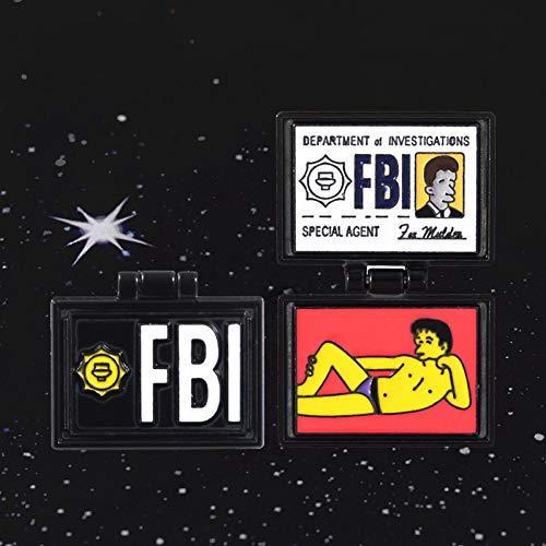 JTXZD Brosche Die Simpsons Emaille Pin The Springfield Dateien Mulders Brieftasche Dateien FBI Flip Broschen Pins für - Mulder Kostüm