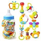 FYGOOD Baby Rassel und Beißring Spielzeug Baby Flasche Spardose Geschenk set Zufällige Farbe 34x13CM