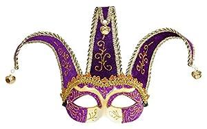 WIDMANN 1650?Máscara Jolly decoro con purpurina, negro/morado, talla única