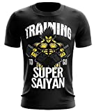 Stylotex Fitness T-Shirt Herren Sport Shirt Training to go Super Saiyan Vintage Gym Tshirts für Performance beim Training | Männer Kurzarm | Funktionelle Sport Bekleidung, Größe:L, Farbe:schwarz