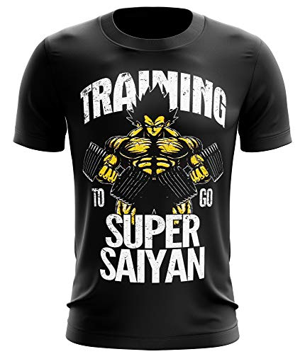 Stylotex Fitness T-Shirt Herren Sport Shirt Training to go Super Saiyan Vintage Gym Tshirts für Performance beim Training | Männer Kurzarm | Funktionelle Sport Bekleidung, Größe:M, Farbe:schwarz