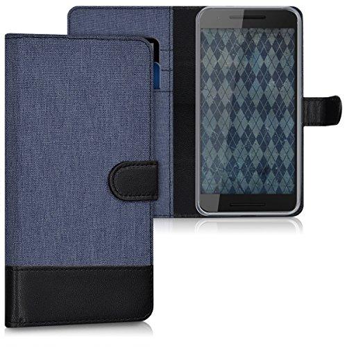 kwmobile Hülle für Huawei Google Nexus 6P - Wallet Case Handy Schutzhülle Kunstleder - Handycover Klapphülle mit Kartenfach und Ständer Dunkelblau Schwarz