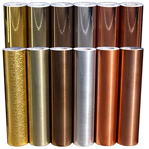 (EUR 19,49 / m²) Plotterfolie Metall Flakes Mosaik Silver Oilslick Glitter Auto Effekt Folie Hologramm Plottfolie (Chrom Bronze, 30.5cm)