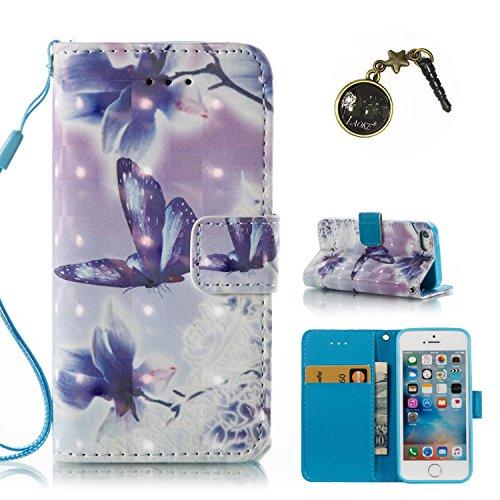 3D iphone 5 5S SE Hülle, PU Leder Hülle für Ledertasche Schutzhülle Case[Stand Feature] Flip Case Cover Etui mit Karte Slots Hülle für Apple iphone5 5S SE (+Staubstecker) (6) 8