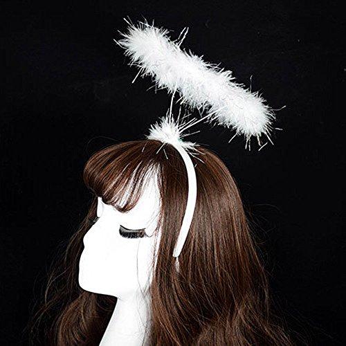 stirnband damen Liusdh Flauschiges Halo Angel Stirnband Fairy Fancy Dress Party Haarband Neu(White,freie - Fancy Flapper Kind Kostüm