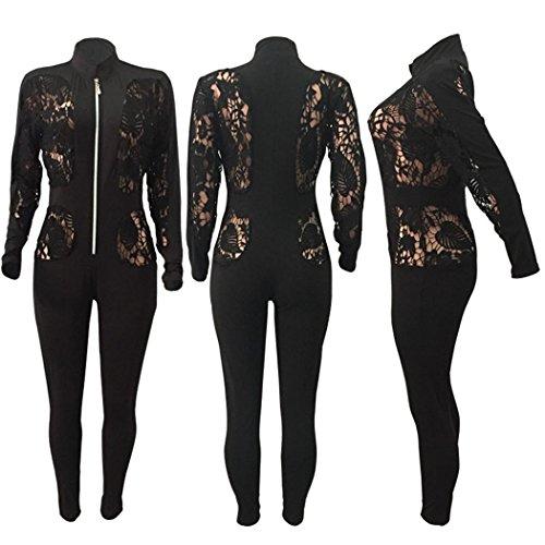 DuuoZy Frauen sexy Lace Floral Hollow Out sehen durch lange Ärmel Overall Bodycon Spielanzug Clubwear , black , m (Schiere Ärmel Lange Robe)