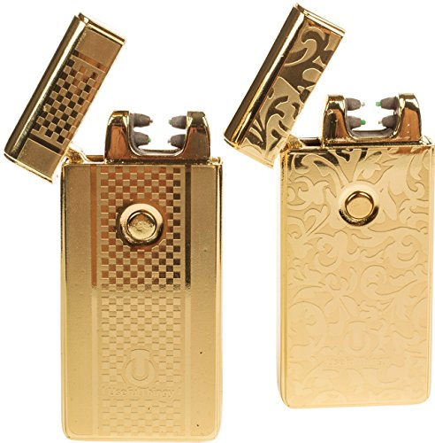 Elektrisches Feuerzeug 2 Pack - USB-aufladbare Arc Tesla Plasma Zigarettenanz&uumlnder - 5 Designs (Gold+Gold)