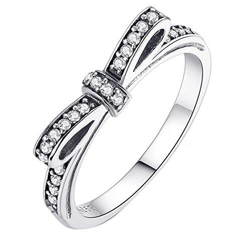 Diamant Für Größe Frauen Ringe 7 (Schleifchen Ringe 925 Sterling Silber Pandora Ribbon Collection Weiß Kubisch Frauen Bester Ring)