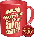 2620 Geburtstag Muttertag Tasse: MUTTER SUPERKRÄFTE, Geburtstagsgeschenk Frauentag Premium Geschenk Tasse Keramik, Original RAHMENLOS ® Geschenkidee in Geschenkbox + Button Super Kräfte