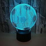 Bunte Fußball 3D kreative visuelle Nachtlicht 3D Stereo-Tischlampe Hot Desktop kreative 3D-Tisch Riss bunt: Touch + Fernbedienung 1-99