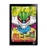 Arthole.it Go Nagai Jeeg Robot d'Acciaio (Kotetsu Jeeg) - Quadro Pop-Art Originale con Cornice, Dipinto, Stampa su Tela, Poster, Locandina, Serie TV, Anime, Manga, Robot