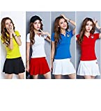 Jiaa Professeur d'été à Manches Courtes Jupe Casual Sports Set Tennis Porter Mme Workwear Running,Jaune,XXL