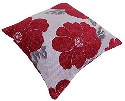"Poppy, Chenille Cushion Covers, Floral Cushions, Pillow Covers, 18"" x 18"", 45cm x 45cm - cheap UK light shop."