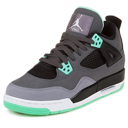 Nike BG (GS) Air Jordan 4 Retro 'Green Glow' Grey/Green White Trainer Size 6 UK / 7Y US