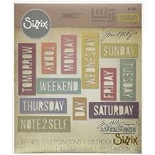 Ellison Europe Sizzix diario bloque de palabras por Tim Holtz Thinlits Die Set, de acero al carbono, multicolor, 12unidades