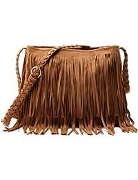 e9466fc8cf0bf Aivtalk - Damen Fashion Fransentasche Handtasche Schultertasche  Umhängetasche aus künstlichem Wildleder - Dunkelbraun