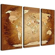 LanaKK Mapamundi - Mapa del mundo marrón colorido, inglés, lámina sobre bastidor camilla en marrón, enmarcado en tres partes de 150 x 100 cm