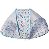 BRANDONN Newborn Foldable And Portable Centrely Zipp Lock Baby Mattress / Baby Bedding / Toddler Bedding With Portable Pillow And Attached Mosquito Protection Net For Babies(Base White & Assorted Designs)